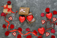 Red ribbon and decorative heart Royalty Free Stock Photos