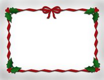 Red Ribbon Design. A digitally created red ribbon borders this image with holly and berries in the corners.  The center is white for your copy Royalty Free Stock Photos