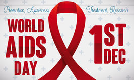Red Ribbon Design with Reminder Date of World AIDS Day, Vector Illustration. Banner with red ribbon and greeting values and date to commemorate World AIDS Day Stock Photography