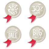 Red ribbon discount offer shiny button set Royalty Free Stock Photography
