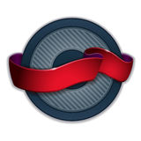 Red ribbon emblem. Round emblem design with red ribbon light effect Stock Photography