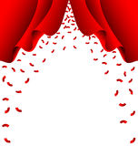 Red ribbon fall from red curtain on white background Stock Photography
