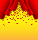 Red ribbon fall from red curtain on yellow background Royalty Free Stock Image