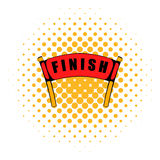 Red ribbon in finishing line icon, comics style Stock Images