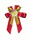 Red ribbon with flower on white Stock Image