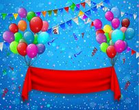 Red ribbon flying with balloons in party blue background Stock Photos