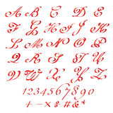 Red ribbon Font and numbers  set Royalty Free Stock Photo
