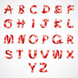 Red Ribbon font A to Z. Alphabet wording Stock Photo