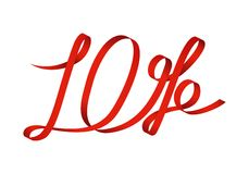 Red ribbon formed 10 percentage discount Stock Photo