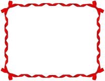 Red Ribbon Frame with Bow. On white background stock images
