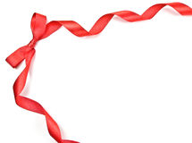 Red Ribbon Frame with Bow. On white background stock photography