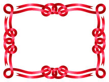 Red ribbon frame isolated on white Royalty Free Stock Photography