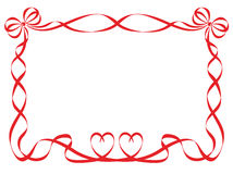 Red ribbon frame isolated on white Stock Photography