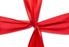 Red ribbon on gift Royalty Free Stock Photos