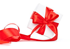Red ribbon on gift Stock Photo