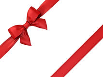 Red ribbon gift bow isolated on white background Royalty Free Stock Photos