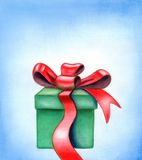 Red ribbon gift box. Red ribbon on a gift box. Hand painted illustration Royalty Free Stock Photo