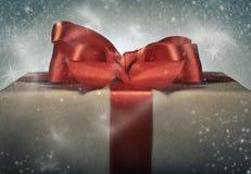 Red ribbon gift box. Holidays gift concept. Magical red ribbon gift box Royalty Free Stock Photography
