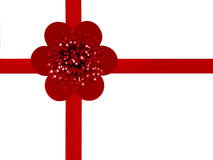 Red ribbon gift wrap background with copyspace Royalty Free Stock Images