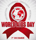Red Ribbon with Globe and Precepts for World AIDS Day, Vector Illustration. Poster with red ribbon and globe commemorating World AIDS Day with some precepts and Royalty Free Stock Photos