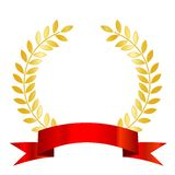 Red ribbon and gold laurel Royalty Free Stock Photos