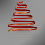 Red ribbon with gold lines in shape of abstract christmas tree. Royalty Free Stock Image