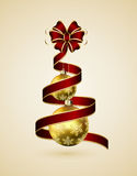 Red ribbon and golden balls Stock Photo