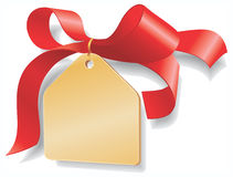 Red ribbon,golden plate. Add your text here. Royalty Free Stock Photos