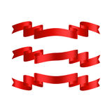 Red ribbon with gradient vector banners set Stock Photography