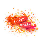 Red ribbon with Happy birthday title. Vector Royalty Free Stock Photography