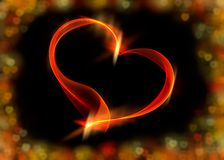 Red ribbon heart with colorful bokeh lights, illustration Royalty Free Stock Photos
