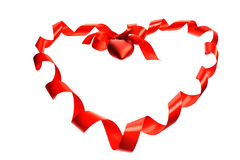 Red ribbon heart Stock Photo