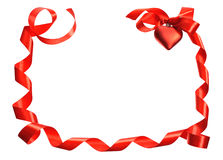Red ribbon heart Stock Image