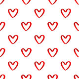 Red ribbon heart seamless pattern Stock Images