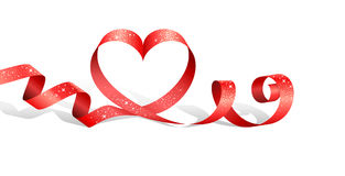Red ribbon with heart Royalty Free Stock Image