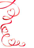 Red ribbon with heart Stock Images