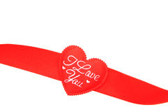 Red ribbon in heart shape Stock Image