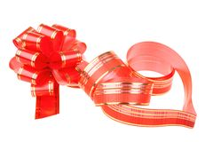 Red ribbon in heart shape and red bow Royalty Free Stock Photos
