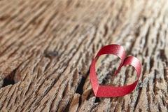 Red Ribbon Heart. Valentine day stock photo