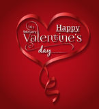 Red ribbon heart for Valentine's day Royalty Free Stock Photo