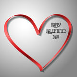 Red ribbon heart for Valentine's day Royalty Free Stock Photography