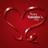 Red ribbon heart for Valentines day Stock Images