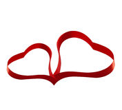 Red ribbon heart valentines love sign Stock Photography