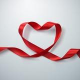 Red Ribbon Heart. Stock Photos