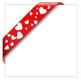 Red ribbon with hearts Stock Photo