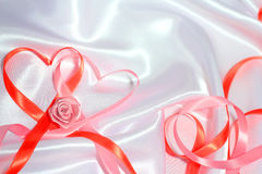 Red ribbon hearts Royalty Free Stock Photo
