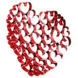 Red ribbon hearts Stock Photos