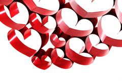 Red ribbon hearts Stock Images