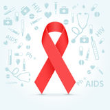 Red ribbon. HIV awareness red ribbon illustration concept over light background Stock Images