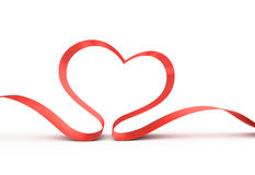 Red Ribbon In A Heart Shape. Royalty Free Stock Image